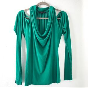 BCBG green long sleeve top open shoulder size XS